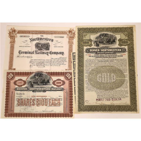 Trio of Railway Stock Certificates (3)  [137017]
