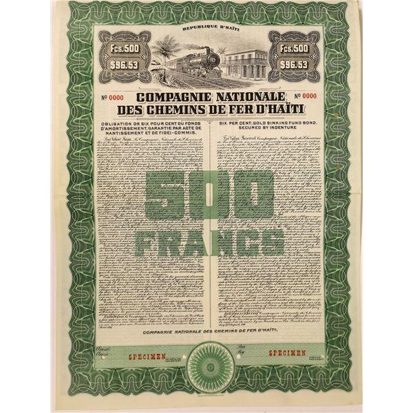 National Railroad Company of Haiti Specimen Bond Certificate  [132645]