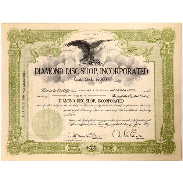 Diamond Disc Shop Stock Issued to Thomas A. Edison Inc. Signed by C. Edison, President  [130181]