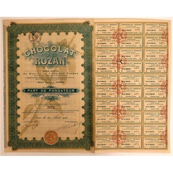 Chocolat Rozan Stock Certificate  [132672]
