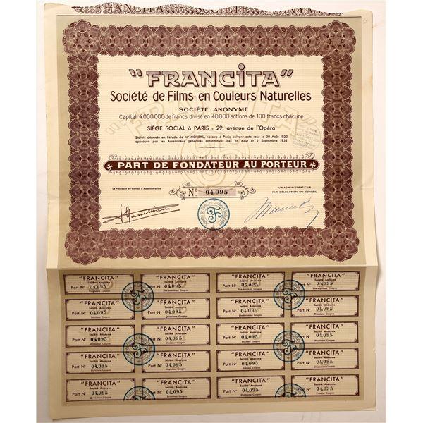 Francita Societe de Films Stock Certificate  [132679]