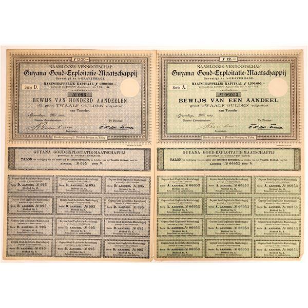 Guyana Goud Exploitatie Maatschappij Stock Certificates  [135074]