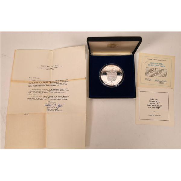 Panama 20 Balboa Silver Proof 1983 In Original Case  [137787]