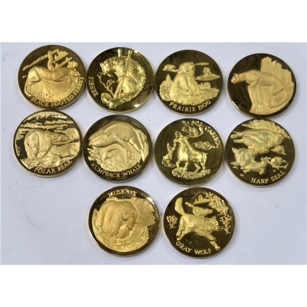 American Wildlife Gold Plated Silver Medals  [137780]