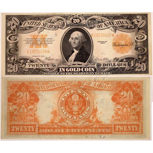 Twenty Dollar Bill  issued 1922 Gold Certificate  [133799]