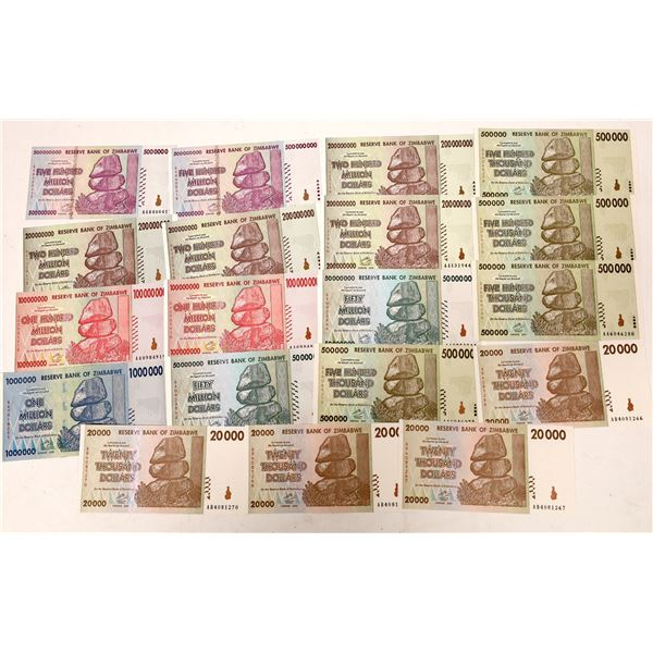 Zimbabwe Currency, Large Denominations - 20 pieces  [136114]