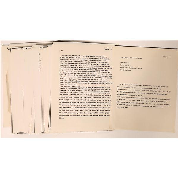 "Unpublished Manuscript ""The Legacy of Gustaf Franzile""  [135699]"