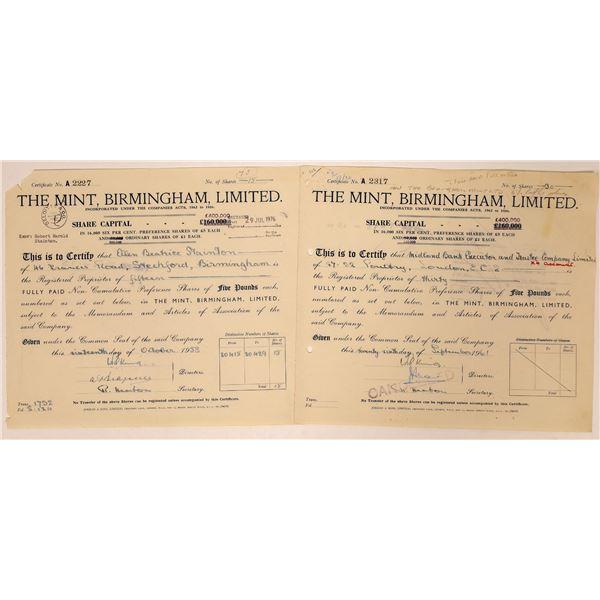The Mint, Birmingham, Limited Stock Certificates  [132640]