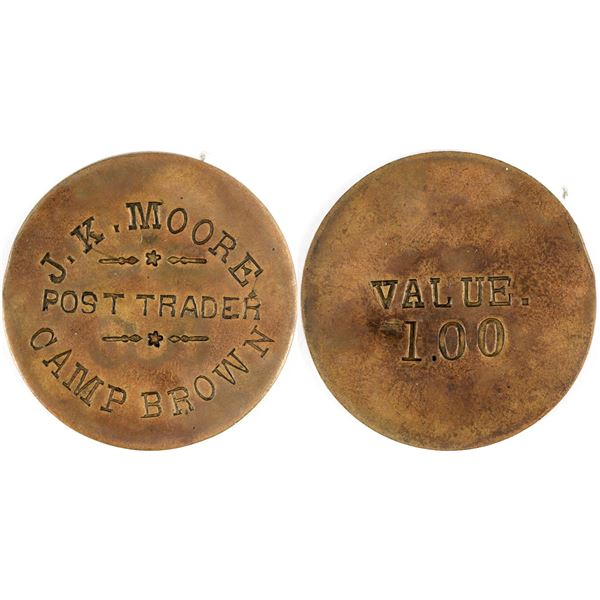 Camp Brown Incuse $1.00 Post Trader Token, stars and lines  [136533]