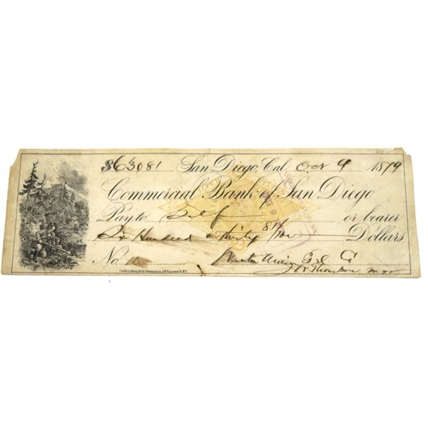 Early San Diego Revenue Bank Check  [135911]