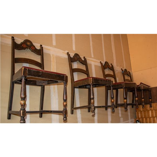 Antique Wood Ladder Back Chairs with Red Leather Seats (4 Chairs)  [138783]