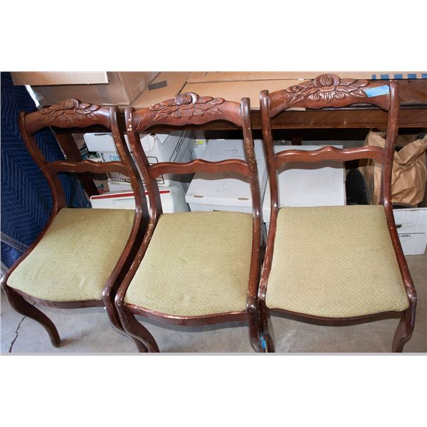 Antique Wooden Chairs with upholstered seat cushions (Set of 3 chairs)  [138784]