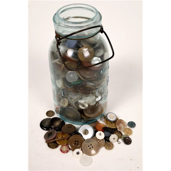 Antique Canning Jar Full of Antique Buttons  [137089]