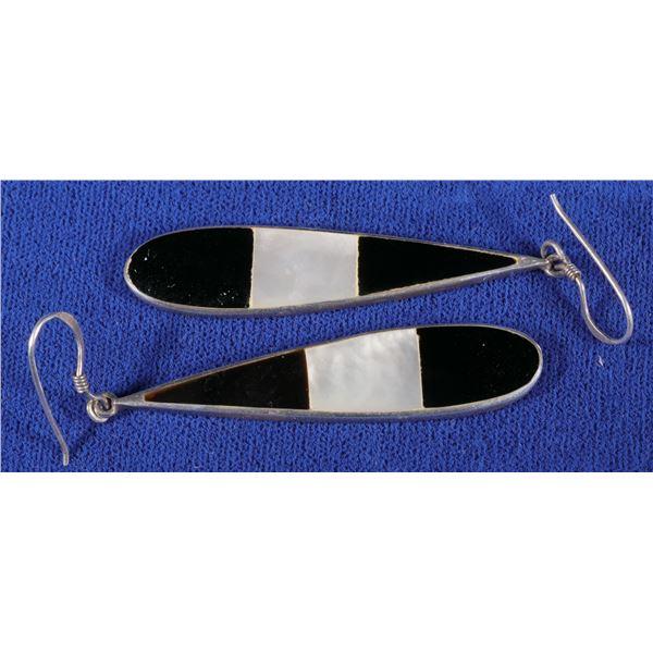 Sterling Silver Teardrop Earrings w/Onyx & Mother of Pearl Inlay  [133862]
