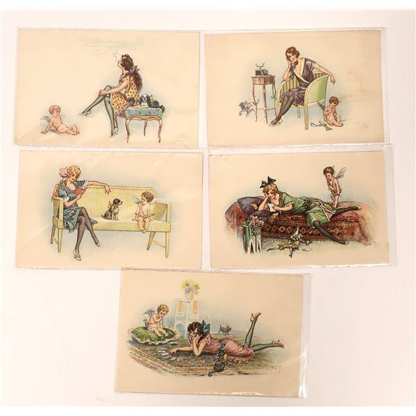 Women & Cherubs Postcard Set (5)  [136735]