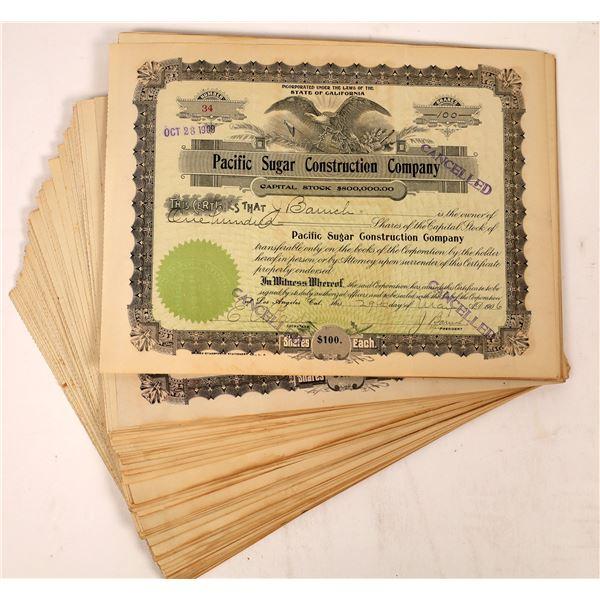 Pacific Sugar Construction Company Stock Certificates  [136864]