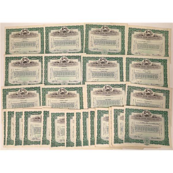 Frank Fehr Brewing Company Stock Certificates  [135664]