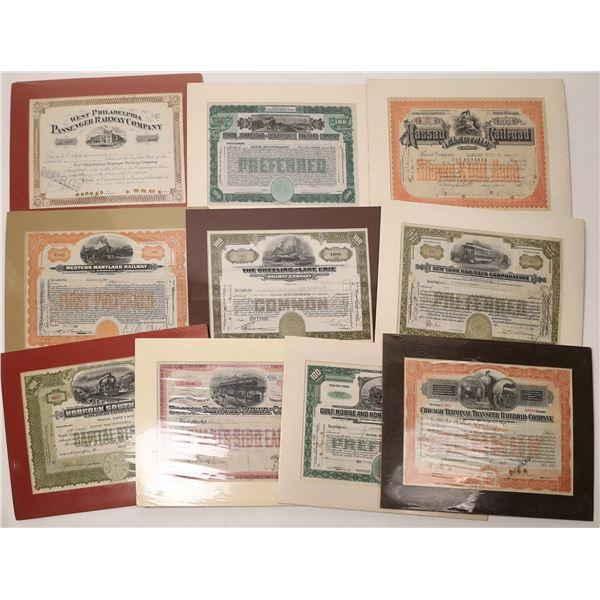 Ten Mounted Railroad Stocks  [135680]