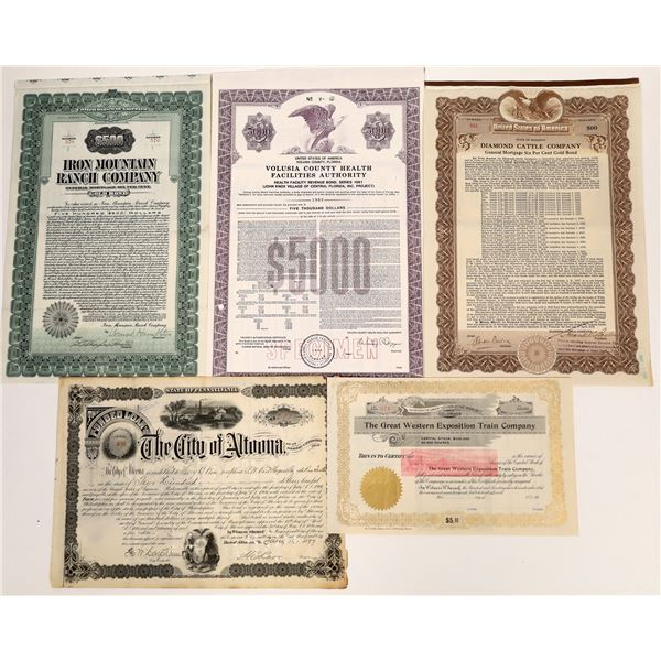 Group of Miscellaneous Stock Certificates (5)  [136451]