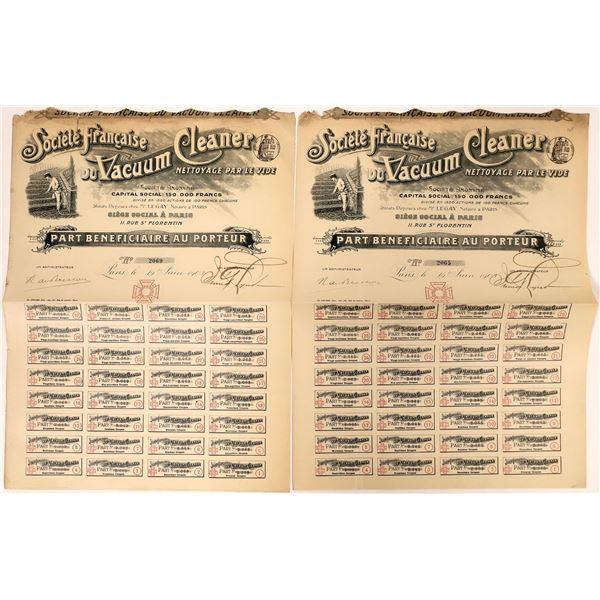 Societe Francaise du Vacuum Cleaner Stock Certificates  [132651]