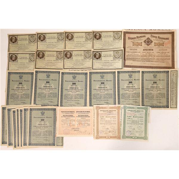 Polish and Romanian Stock and Bond Certificates  [135076]