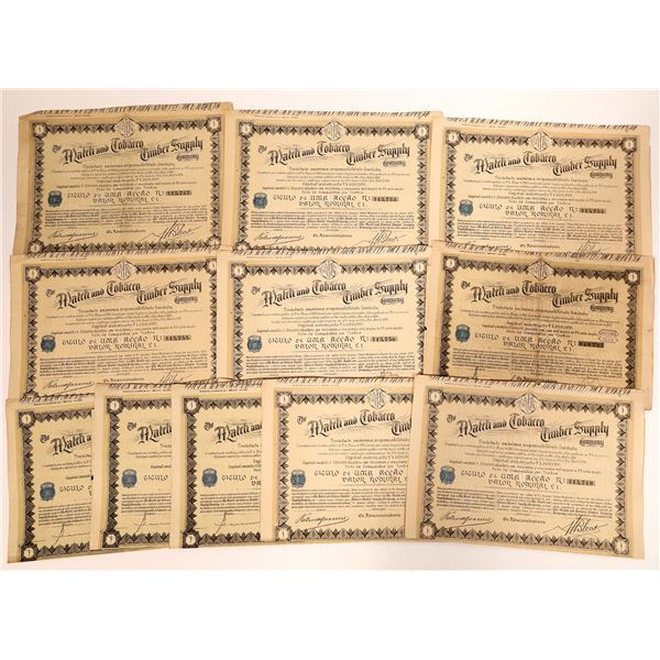 Match and Tobacco Timber Supply Company Stock Certificates  [135067]