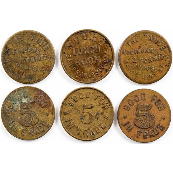 San Francisco Tokens from The Tahoe and Sutro Lunch Room  [136644]