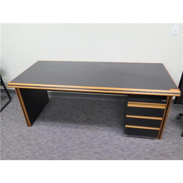 """Time Office Italy Black Laminate & Wood Desk w/ Under Cabinet 80""""x30""""H"""