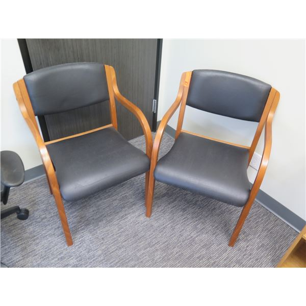 """Qty 2 Wooden Office Upholstered Arm Chairs 18""""x24"""""""