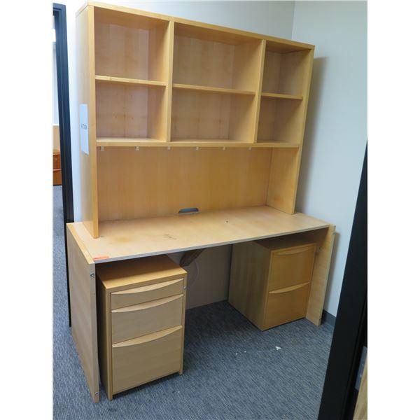 "Wooden Desk w/ 6 Shelf Hutch & 2 Cabinets 71'x33""x85"""