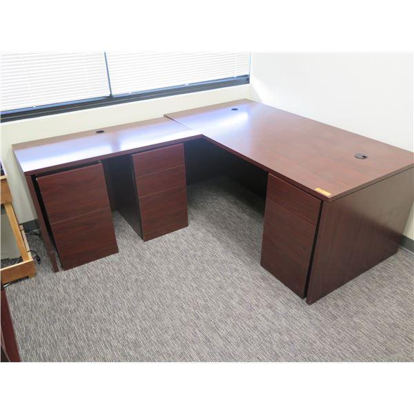 "Wooden ""L"" Shape Desk w/ 3 Under Cabinets 70"" & 48"" x 23""W x 29""H"