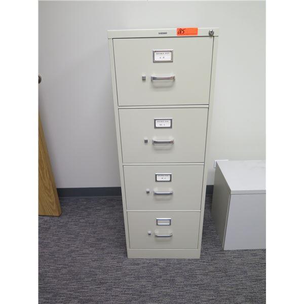 "HON Beige 4 Drawer File Cabinet 18""x52""H"