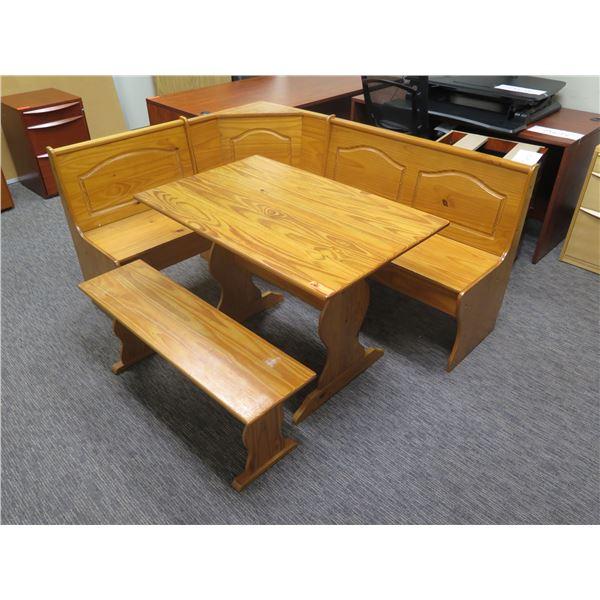 "Wooden Corner Nook Table 42""x27""x30""H & Bench 69""x20"""