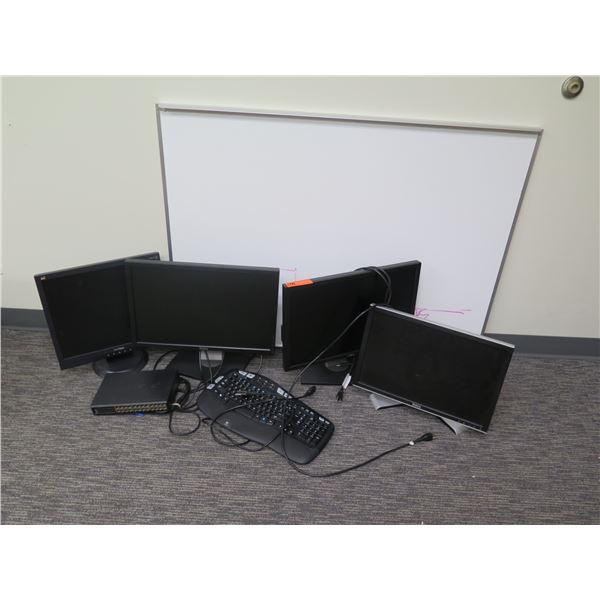Qty 4 Computer Monitors, Keyboard, USB Port & White Board 47 x16