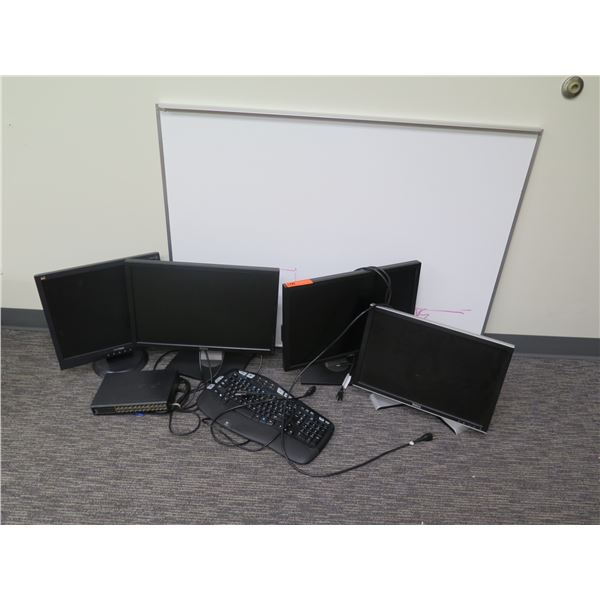 "Qty 4 Computer Monitors, Keyboard, USB Port & White Board 47""x16"""