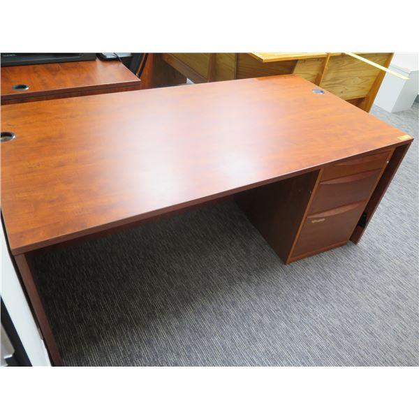 "Wooden Desk w/ Under File Cabinet 70""x36"""
