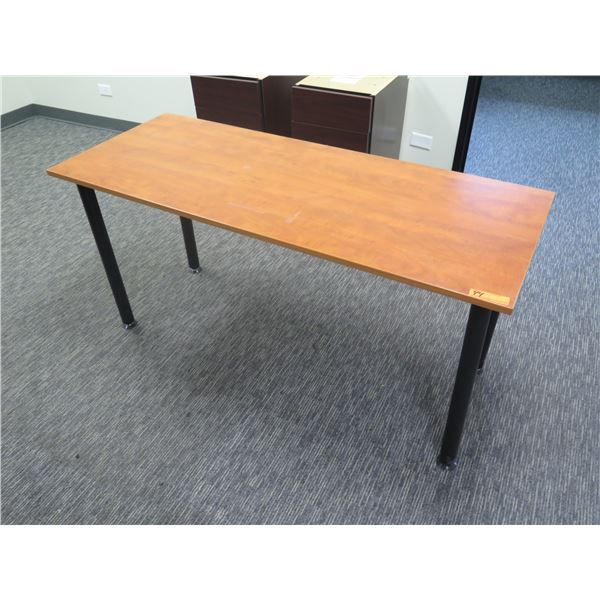 """Wooden Table w/ Metal Legs & Back Guard 59""""x23""""x29""""H"""