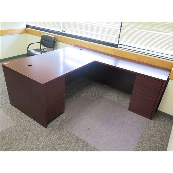 """Wooden """"L"""" Shape Desk w/ 2 Under Cabinets 71 & 48""""""""x 36""""W"""