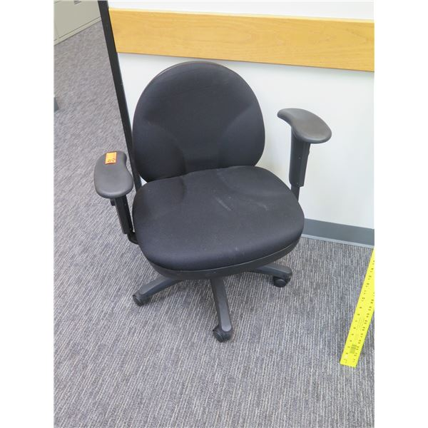 Rolling Adjustable Office Upholstered Arm Chair w/ Adjustable Low Back