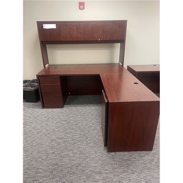 Qty 1 L-Shaped Desk with Overhead Storage Unit (see measurements in pictures)