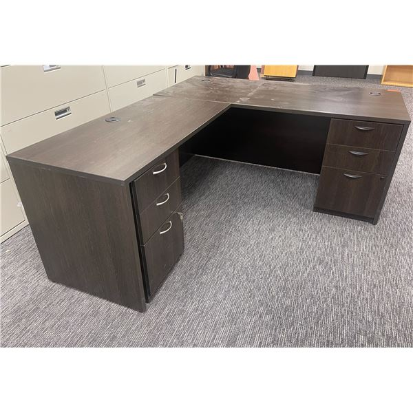 Dark Brown L-Shaped Desk (see pictures for measurements) - has damage on the surface