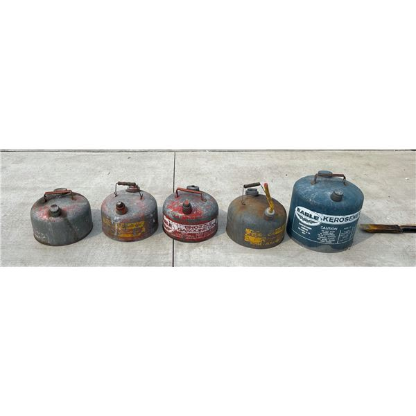 VINTAGE PETROL CANS, LOT OF 5