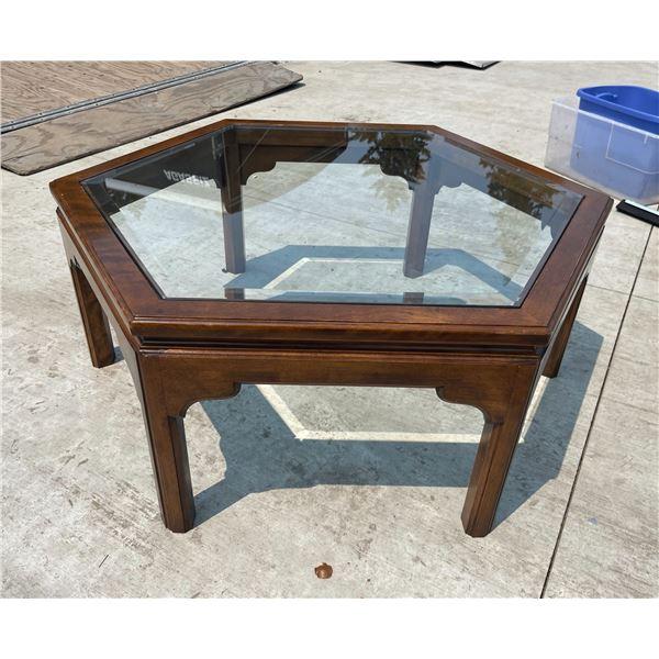 WOOD AND GLASS HEXAGONAL COFFEE TABLE