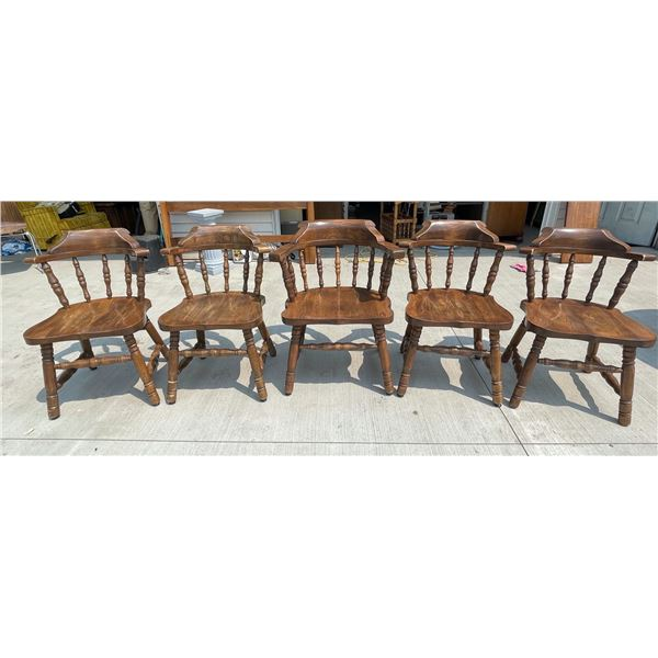 CHUNKY/STURDY SOLID WOOD DINING TABLE CHAIRS, SET OF 5