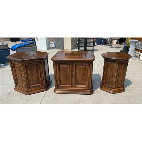 ETHAN ALLEN END TABLES WITH STORAGE, SET OF 3