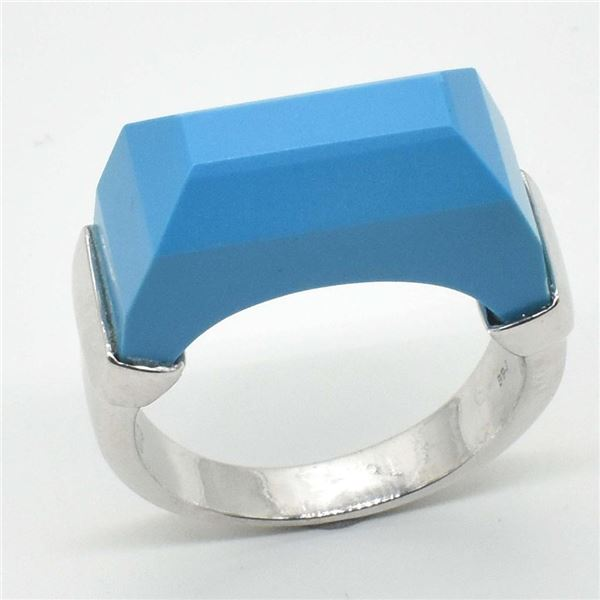 Silver Turquoise Man Made(12.6ct) Rhodium Plated Ring (~weight 6.45g)
