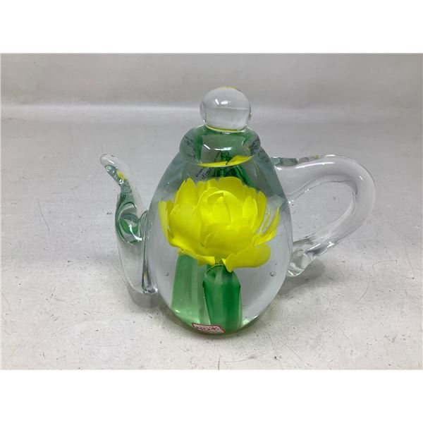 Decretive Blown Glass Tea Pot