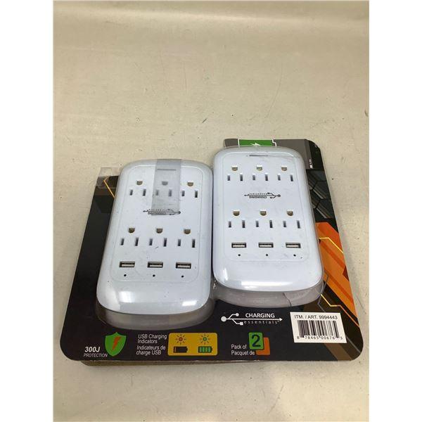 Pack of 2 NEW multi plug wall plugs
