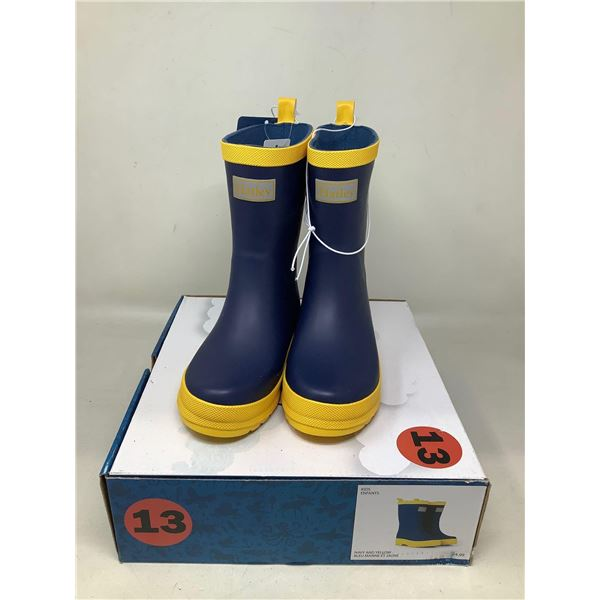Kids Rubber Boots Navy And Yellow Size 13