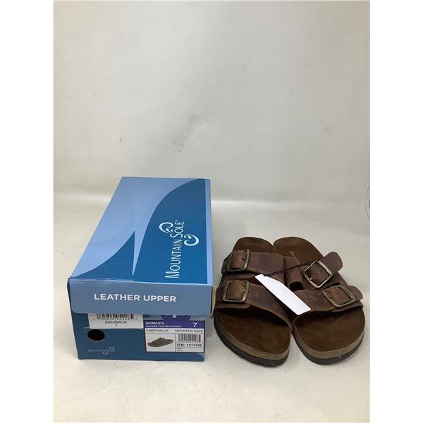 Mountain Sole Womens Leather Footbed Sandal Size 7
